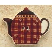 Mill Hill Button - 43095 Debbie Mumm - Teapot With Plaids And Bees