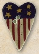 Mill Hill Button - 43159 Debbie Mumm - Stars N' Stripes Heart THUMBNAIL