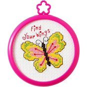 Bucilla - My 1st Stitch Find Your Wings Mini Cross Stitch Kit THUMBNAIL