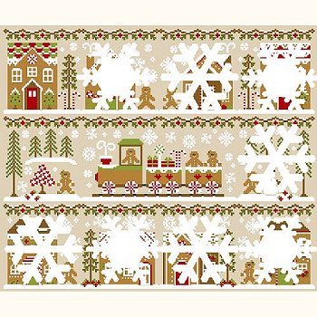Country Cottage Needleworks - Gingerbread Village #2 - Gingerbread Girl & Peppermint Tree MAIN