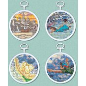 The Disney Dreams Collection - Tinker Bell and Peter Pan (Set of 4 Cross Stitch Mini Vignettes)