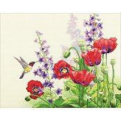 Dimensions Cross Stitch Kit - Hummingbird & Poppies