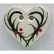 Mill Hill Button - 86015 Holly Heart THUMBNAIL