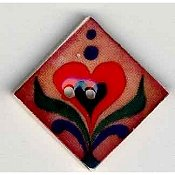 Mill Hill Button - 870112 Jim Shore - Red Heart On Terracotta