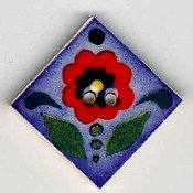 Mill Hill Button - 87013 Jim Shore - Red Flower On Blue