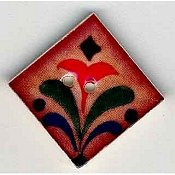 Mill Hill Button - 87014 Jim Shore - Red Flower On Terracotta