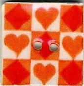 Mill Hill Button - 87027 Jim Shore - Orange Tic Tac Toe