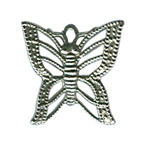 Flying Butterfly Charm - Antique Silver