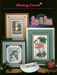 Cover photo of Stoney Creek Book 114 Sea and Sun showing cross stitch designs of flamingo, dolphins and Arizona cactus MAIN