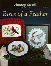 Cover photo of Stoney Creek Book 116 Birds of a Feather showing cross stitch designs of realistic birds MAIN