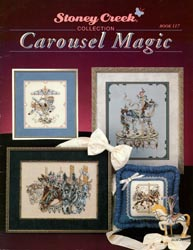 Cover photo of Stoney Creek Book 117 Carousel Magic showing cross stitch designs of fancy carousel horses MAIN