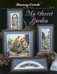 Front cover of Stoney Creek's Book 129 My Secret Garden cross stitch triptych with floral topper
