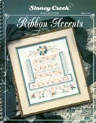 Front cover of Stoney Creek wirebound Book 134 Ribbon Accents showing Ribbon and Roses Sampler design