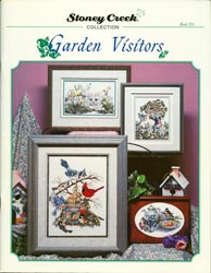 Front cover of Stoney Creek Book 156 Garden Visitors cross stitch designs featuring birds and a cat among flowers