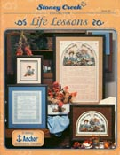 Front cover of Stoney Creek Book 182 Life Lessons poem in cross stitch with hardanger
