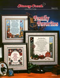 Cover photo of Stoney Creek Book 215 Family Favorites showing cross stitch designs about family