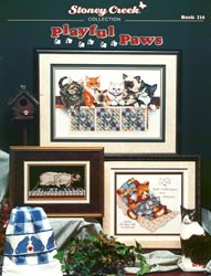Cover photo of Stoney Creek Book 216 Playful Paws cross stitch designs about cats MAIN