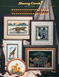 Cover photo of Stoney Creek Book 221 Stitching Safari featuring cross stitched wild animals