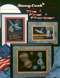 Cover photo of Stoney Creek Book 226 Final Frontier showing cross stitch designs about outer space