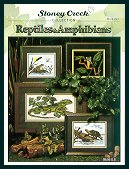 Cover photo of Stoney Creek Book 241 Reptiles & Amphibians featuring realistic cross stitch frogs lizards and more_THUMBNAIL