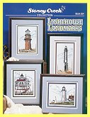 Cover photo of Stoney Creek Book 254 Lighthouse Landmarks showing actual cross stitched lighthouses_THUMBNAIL