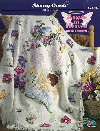 Cover photo of Stoney Creek Book 294 Angels in Heaven cross stitch birth sampler and afghan