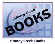 blue block with pink accents and the words Stoney Creek Collection Books