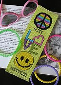 "picture of 14ct Grasshopper Aida Bright Ideas Bookmark showing ""Peace Love Happiness"" design from October 2007 magazine"