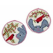 Handblessings - Circle Ornaments - Cardinal Greets Bunny