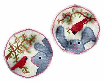 Handblessings - Circle Ornaments - Cardinal Greets Bunny MAIN