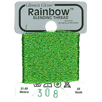 Glissen Gloss Rainbow Blending Thread 308 Lime Green THUMBNAIL