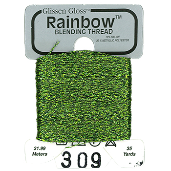 Glissen Gloss Rainbow Blending Thread 309 Olive Green THUMBNAIL