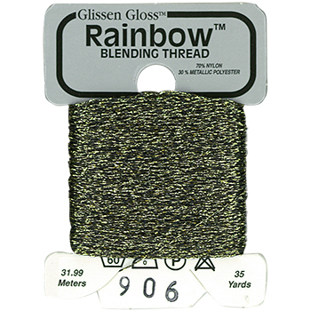 Glissen Gloss Rainbow Blending Thread 906 Black Silver Gold THUMBNAIL
