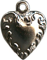 Antique Silver Heart with Vines Charm