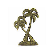 Charm - Antique Gold Twin Palms THUMBNAIL