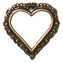 Charm - Antique Gold Edged Open Heart THUMBNAIL