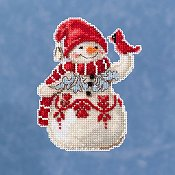 Jim Shore by Mill Hill - Snowman With Cardinal THUMBNAIL