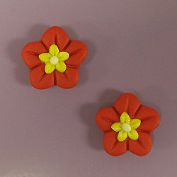Magnets - Snowmen of the Month - April Red Flowers w/ Yellow Centers, Set of 2 MAIN