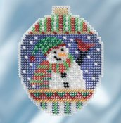 Mill Hill 2018 Beaded Holiday Ornament - Snowman Greetings THUMBNAIL