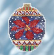 Mill Hill 2018 Beaded Holiday Ornament - Christmas Pointsettia THUMBNAIL