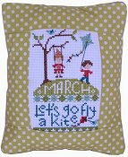 Pine Mountain Designs - Rectangle Pillow - March Let's Go Fly a Kite