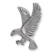Charm - American Bald Eagle Flying Silver
