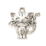 Cute Cat Charm - Silver THUMBNAIL