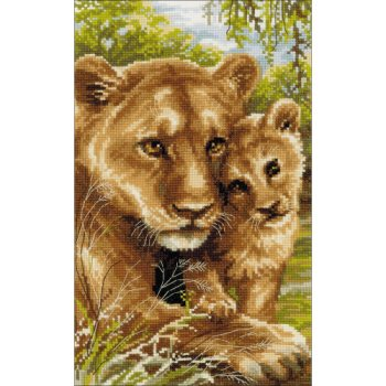 Riolis Cross Stitch - Lioness With Cub_MAIN