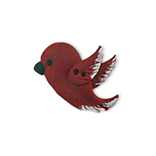 Button - Left-Facing Dark Red Bird, Extra Large THUMBNAIL