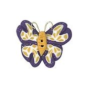 Button - Purple & Gold Butterfly THUMBNAIL