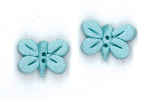 Button - Pearl Aqua Butterfly, Set of 2 MAIN