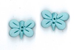 Button - Pearl Aqua Butterfly, Set of 2 THUMBNAIL