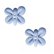 Button - Pearl Aqua Butterfly, Set of 2