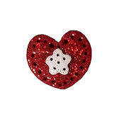 Button - Red Glitter Heart w/ Snowflake